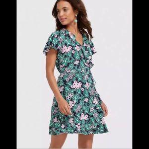 Draper James Tropical Floral Wrap Dress Rayon 14